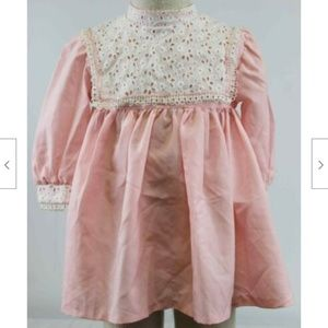 Vtg 1960s Haddad Brothers Pink Dress Eyelet Lace C